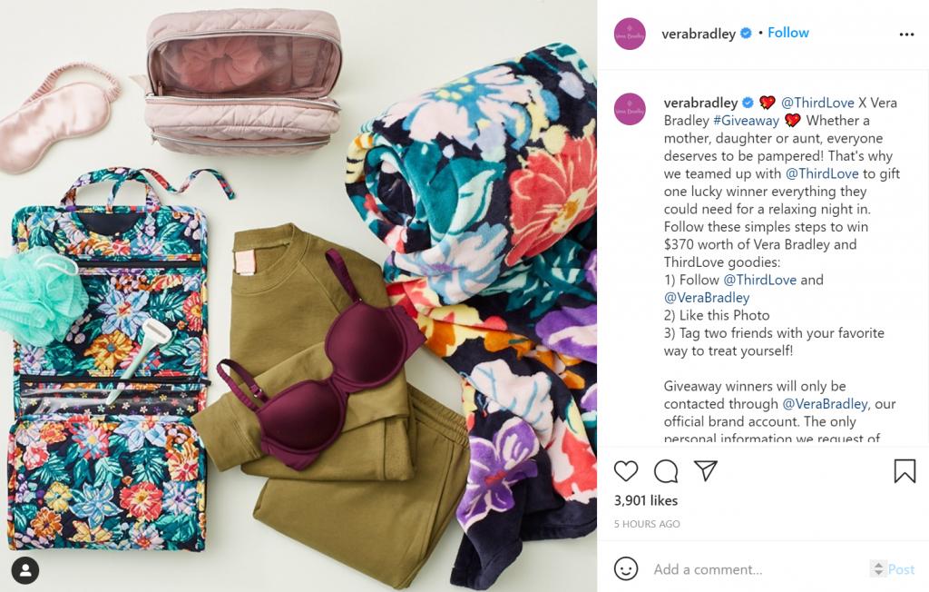 Screenshot of Vera Bradley's giveaway on Instagram