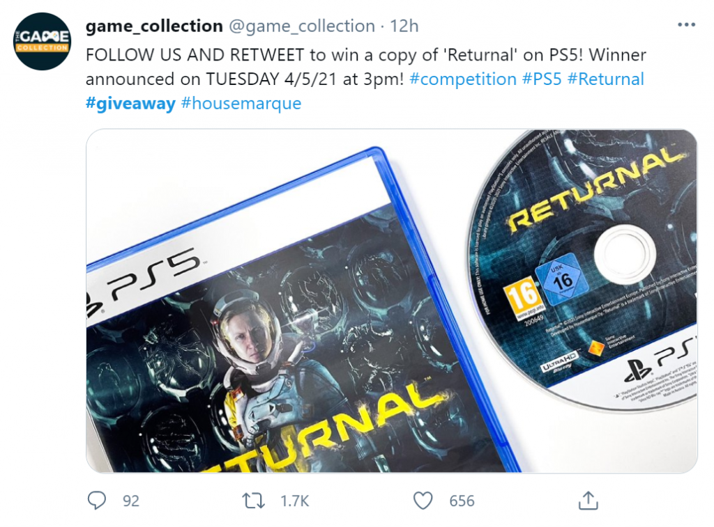 Screenshot of @game_collection video game giveaway on Twitter